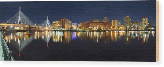 Boston Pano From Bridge To Bridge Wood Print