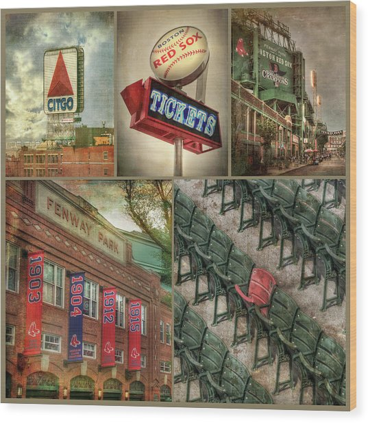 Boston Red Sox Fenway Park Collage Wood Print