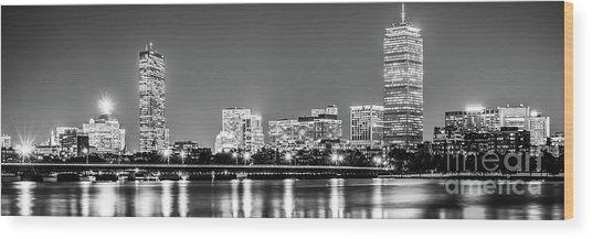 Boston Skyline At Night Black And White Panorama Picture Wood Print