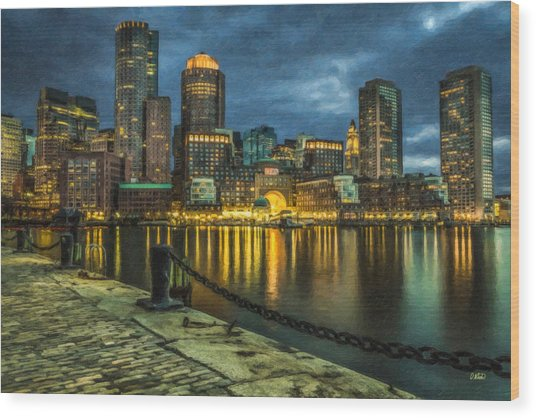 Boston Skyline At Night - Cty828916 Wood Print