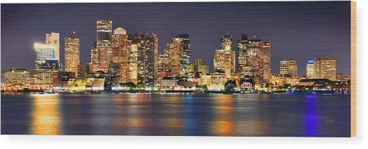 Boston Skyline At Night Panorama Wood Print