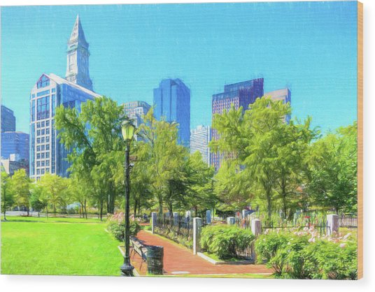 Boston Skyline From Columbus Park Wood Print