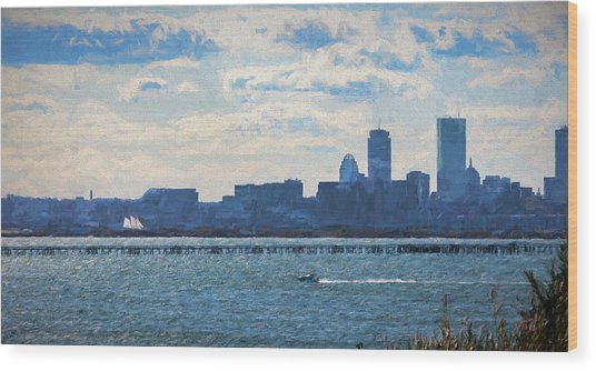 Boston Skyline From Deer Island Wood Print