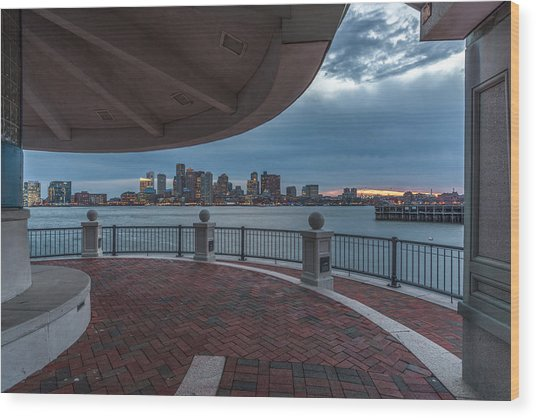 Boston Skyline From Piers Park  East Boston Ma Wood Print