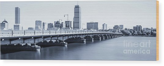 Boston Skyline Harvard Bridge Panorama Photo Wood Print