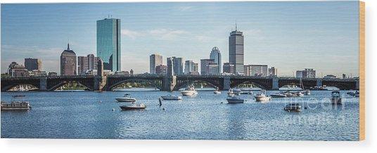Boston Skyline Longfellow Bridge Panorama Photo Wood Print