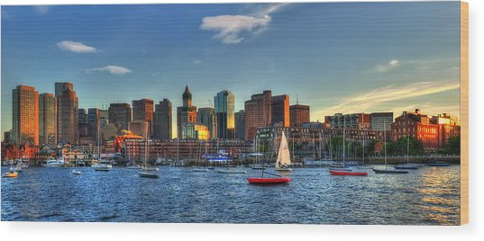 Boston Skyline Panoramic - Boston Harbor Wood Print by Joann Vitali