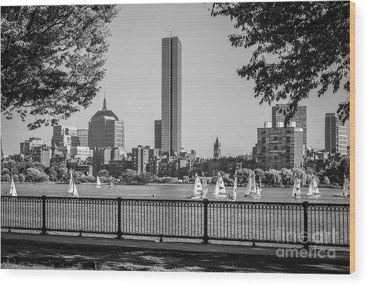 Boston Skyline Sailboats Black And White Photo Wood Print