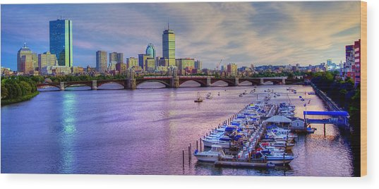 Boston Skyline Sunset Wood Print