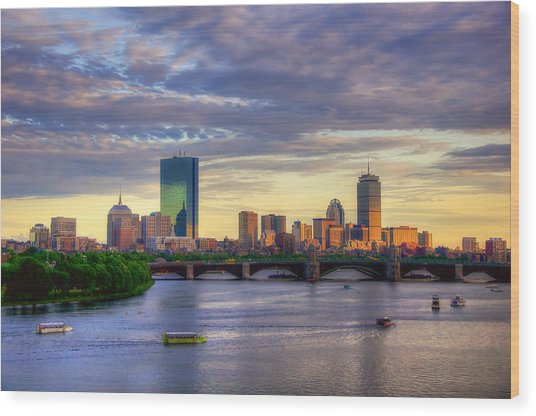 Boston Skyline Sunset Over Back Bay Wood Print