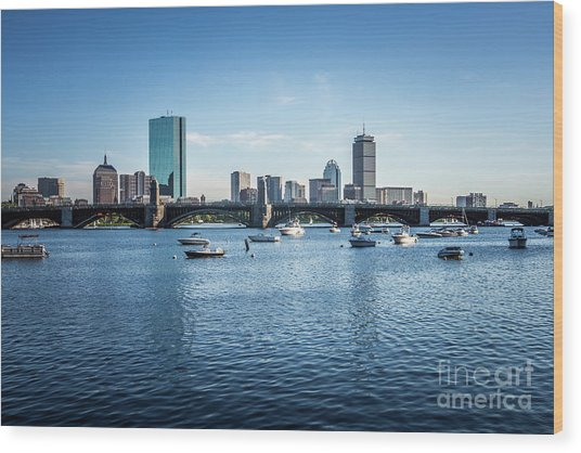 Boston Skyline With The Longfellow Bridge Wood Print