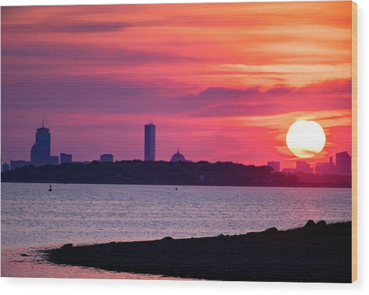 Boston Skyline Worlds End Wood Print