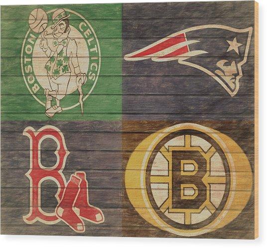 Boston Sports Teams Barn Door Wood Print