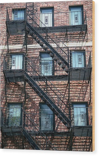 Boston Stairs Wood Print