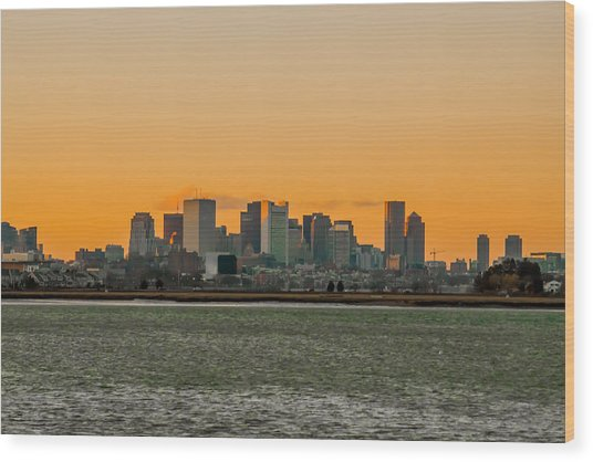 Boston Sunset Wood Print