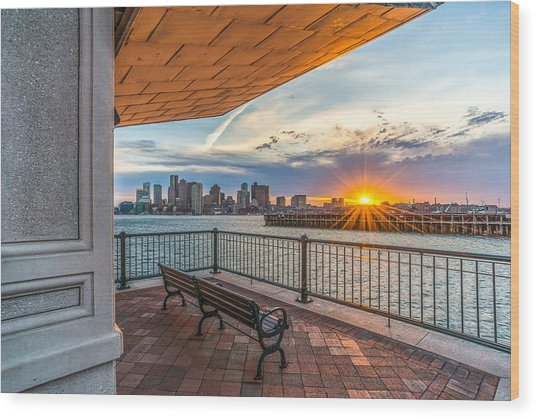 Boston Sunset From Piers Park East Boston Ma Wood Print