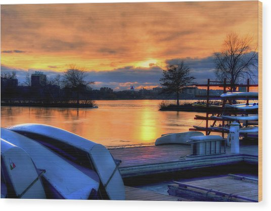 Boston Sunset On The Charles River With Citgo Sign Wood Print by Joann Vitali