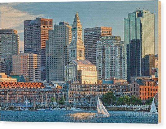 Boston Sunset Sail Wood Print