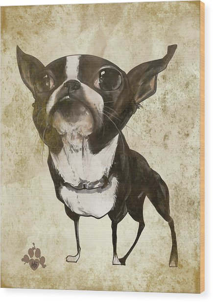 Boston Terrier - Antique Wood Print