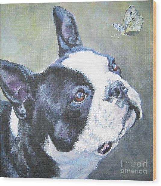 boston Terrier butterfly Wood Print