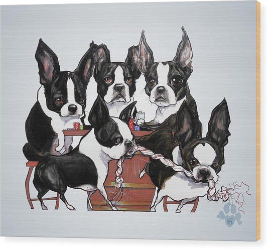 Boston Terrier - Dogs Playing Poker Wood Print