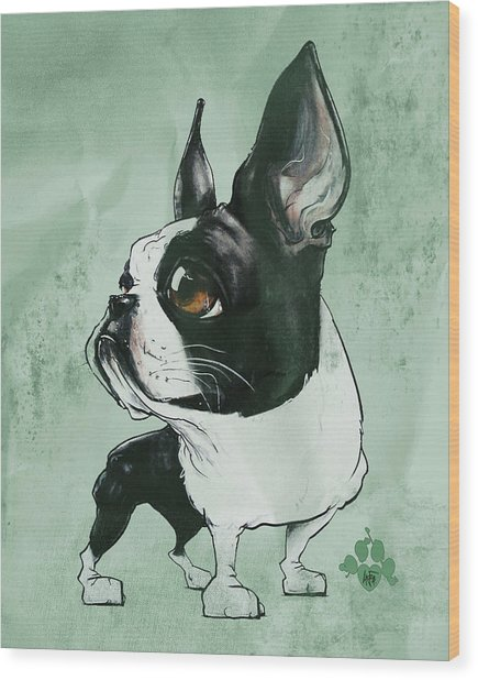 Boston Terrier - Green  Wood Print