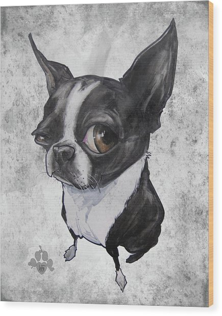 Boston Terrier - Grey Antique Wood Print