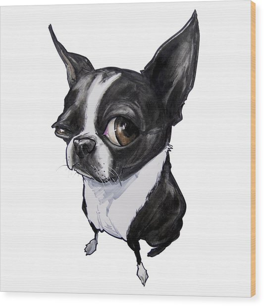 Boston Terrier Wood Print