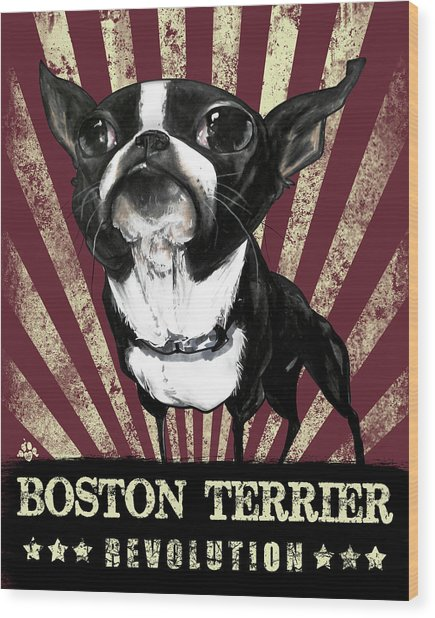 Boston Terrier Revolution Wood Print