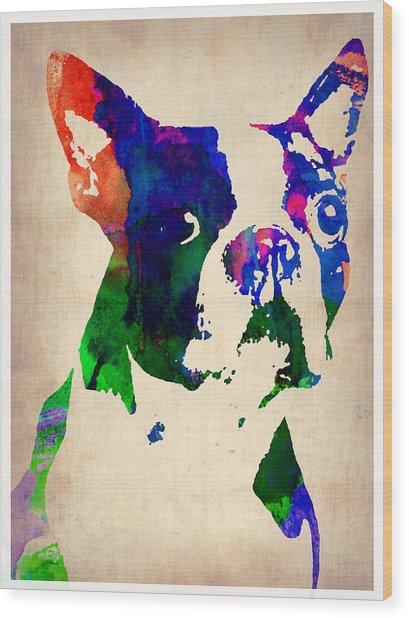 Boston Terrier Watercolor Wood Print