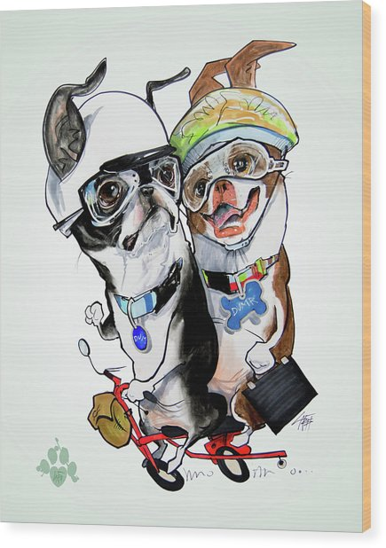 Boston Terriers - Dumb And Dumber Wood Print