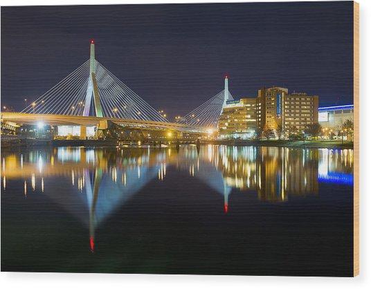 Boston Zakim Bridge Reflections Wood Print