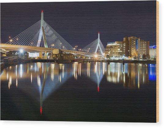 Boston Zakim Memorial Bridge Nightscape II Wood Print