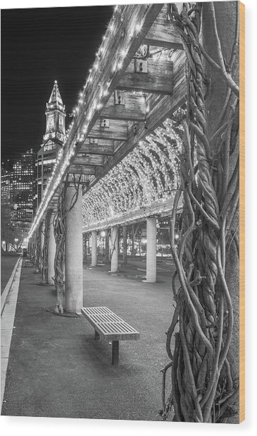 Boston's Custom House And Christopher Columbus Park Trellises Wood Print