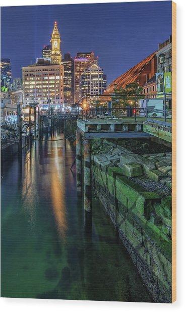 Boston's Custom House Tower From Long Wharf Wood Print