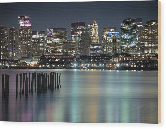 Boston's Skyline From Lopresti Park Wood Print