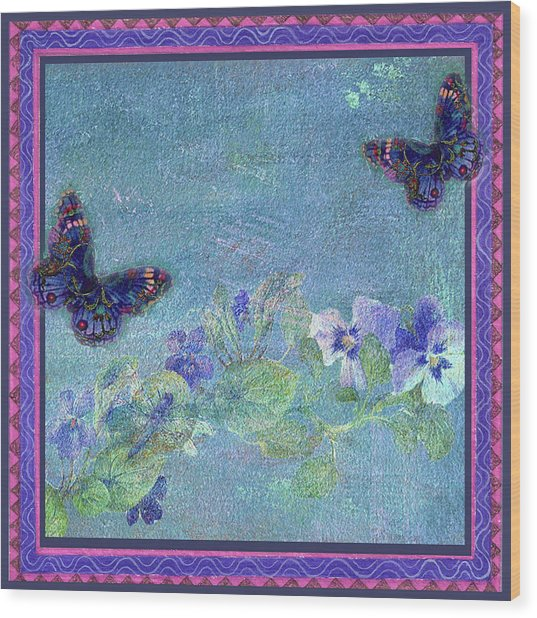 Botanical And Colorful Butterflies Wood Print