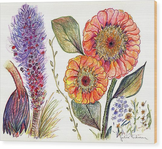 Botanical Flower-49 Wood Print by Julie Richman