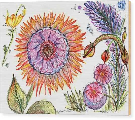 Botanical Flower-50 Wood Print by Julie Richman