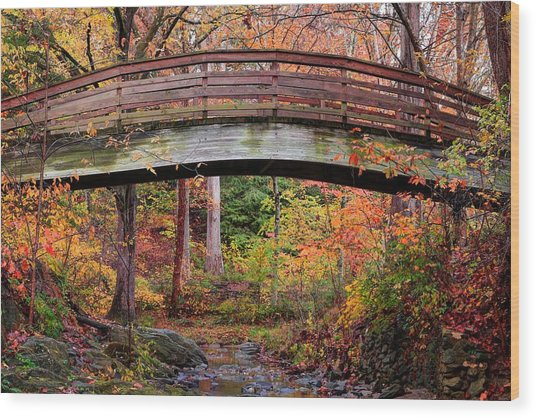 Botanical Gardens Arched Bridge Asheville During Fall Wood Print