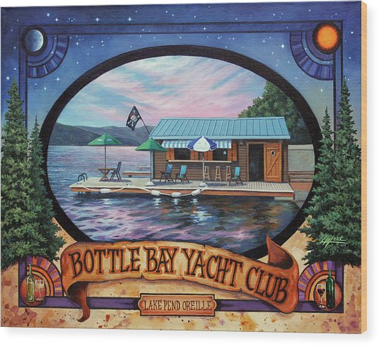 Bottle Bay Yacht Club Wood Print