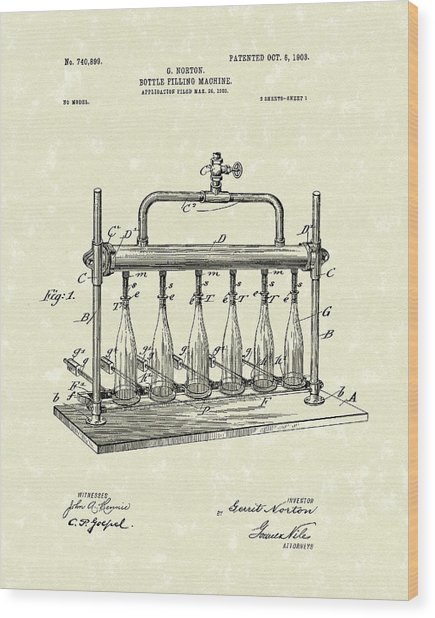 Bottle Filling Machine 1903 Patent Art Wood Print