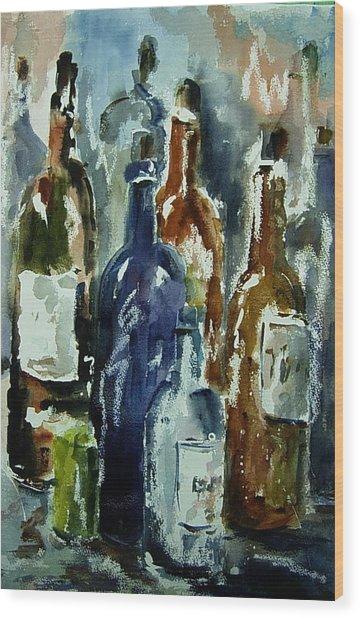 Bottle In A Dusty Cellar Wood Print