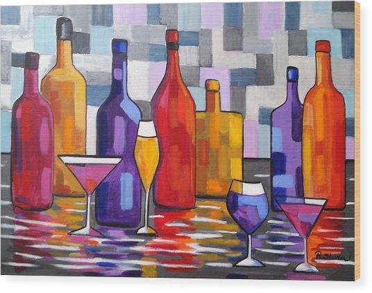 Bottle Of Wine Wood Print