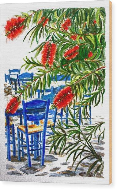 Bottlebrush And Blue Wood Print by Yvonne Ayoub