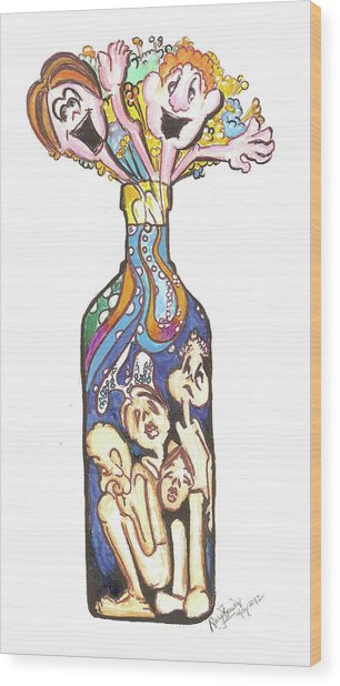 Bottled Emotions Wood Print by Remy Francis