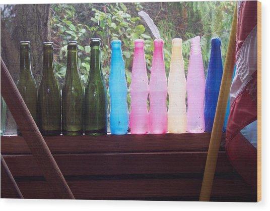 Bottles Wood Print by Klee Miller