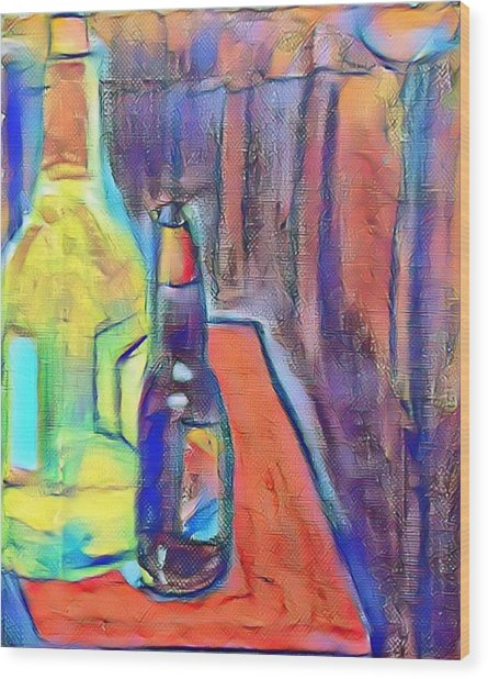 Bottles-still Life  Wood Print