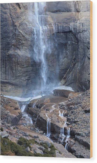 Bottom Part Of Upper Yosemite Waterfall Wood Print