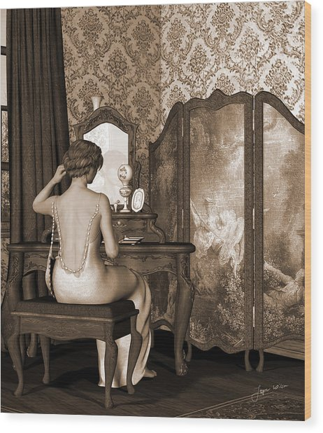 Boudoir Reflection Wood Print